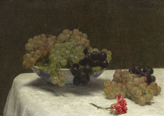 Fantin-Latour, Henri: Still Life with Grapes and a Carnation. Fine Art Print/Poster. Sizes: A4/A3/A2/A1 (003959)
